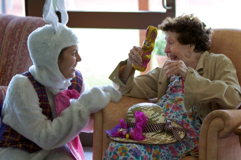 Entry No:   24 Title:      Easter Joy Submitted By:   Johannes Knijnenburg Description People in aged care facilities face the prospect of loneliness and boredom. A smile a laugh, an Easter gift makes a difference.